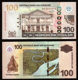 banknote of Surinam 100 Dollars in UNC condition