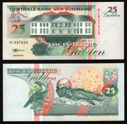 banknote of Surinam 25 Gulden in UNC condition