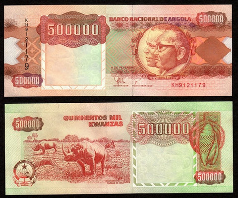 banknote of Angola 500000 Kwanzas in UNC condition