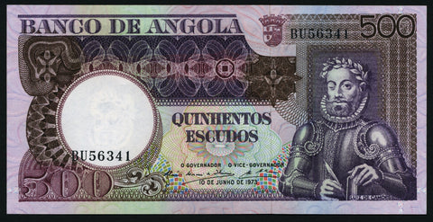 banknote of Angola 500 Escudos in UNC condition