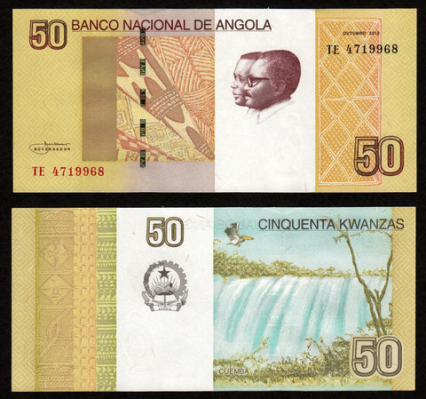 banknote of Angola 50 Kwanzas in UNC condition