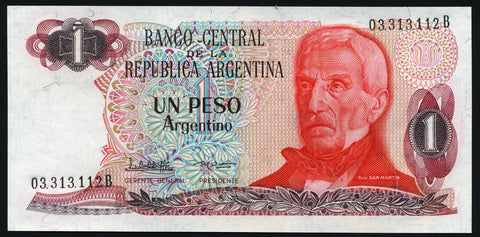 banknote of Argentina 1 Peso Argentino in UNC condition