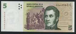 banknote of Argentina 5 Pesos in UNC condition