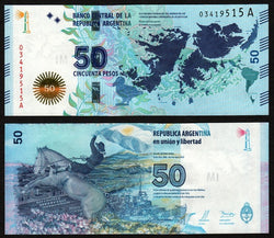 banknote of Argentina 50 Pesos in UNC condition