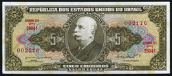 banknote of Brazil 5 Cruzeiros in EF condition