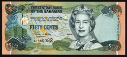 banknote of Bahamas 50 Cents in UNC condition