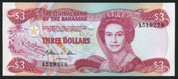 banknote of Bahamas 3 Dollars in UNC condition