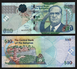 banknote of Bahamas 10 Dollars in UNC condition