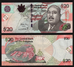 banknote of Bahamas 20 Dollars in UNC condition