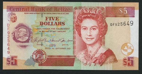 banknote of Belize 5 Dollars in UNC condition