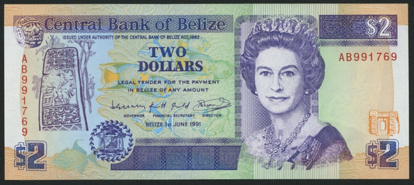 banknote of Belize 2 Dollars in UNC condition