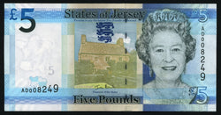 banknote of Jersey 5 Pounds in UNC condition