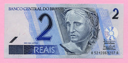 banknote of Brazil 2 Reals in UNC condition
