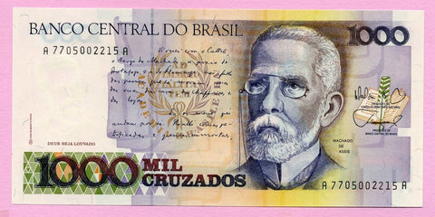banknote of Brazil 1000 Cruzados in UNC condition