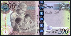 banknote of Botswana 200 Pula in UNC condition