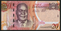 banknote of Botswana 20 Pula in UNC condition