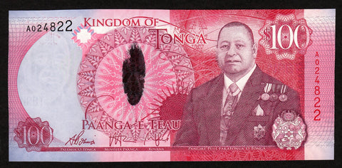 banknote of Tonga 100 Pa'anga in UNC condition