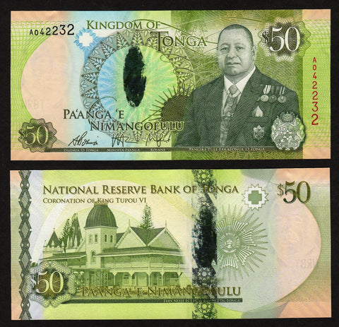 banknote of Tonga 50 Pa'anga in UNC condition