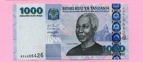 banknote of Tanzania 1000 Shilings in UNC condition