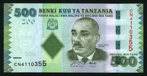 banknote of Tanzania 500 Shilings in UNC condition