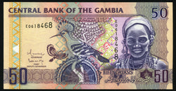 banknote of Gambia 50 Dalasis in UNC condition