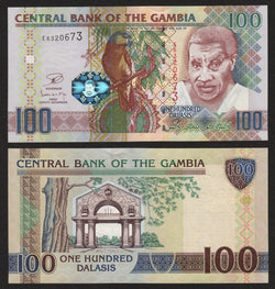 banknote of Gambia 100 Dalasis in UNC condition
