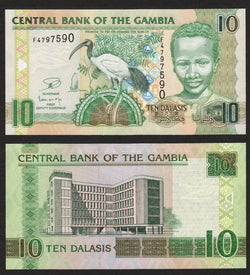 banknote of Gambia 10 Dalasis in UNC condition