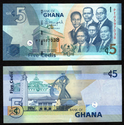 banknote of Ghana 5 Cedis in UNC condition