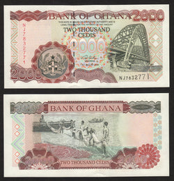 banknote of Ghana 2000 Cedis in UNC condition