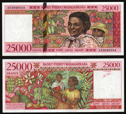 banknote of Madagascar 25000 Francs in UNC condition
