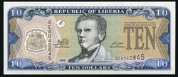 banknote of Liberia 10 Dollars in UNC condition