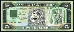 banknote of Liberia 5 Dollars in UNC condition
