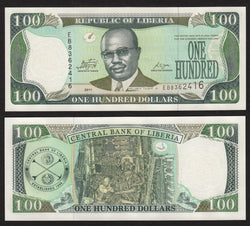 banknote of Liberia 100 Dollars in UNC condition