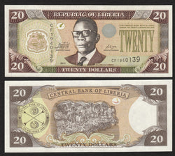 banknote of Liberia 20 Dollars in UNC condition