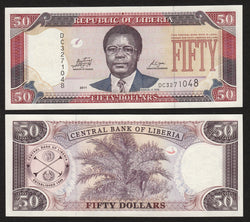 banknote of Liberia 50 Dollars in UNC condition