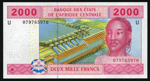 banknote of Central African States 2000 Francs in UNC condition