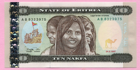 banknote of Eritrea 10 Nakfa in UNC condition