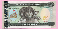 banknote of Eritrea 5 Nakfa in UNC condition