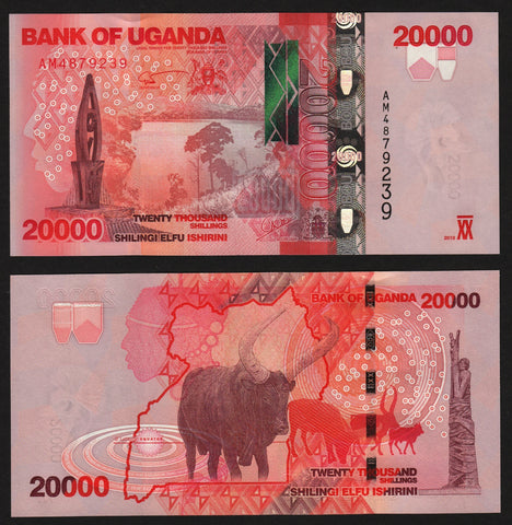 banknote of Uganda 20000 Shillings in UNC condition