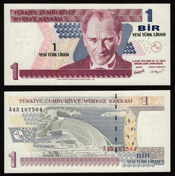 banknote of Turkey 1 New Lira in UNC condition
