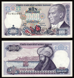 banknote of Turkey 1000 Lira in UNC condition