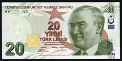 banknote of Turkey 20 Lira in UNC condition