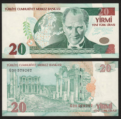 banknote of Turkey 20 New Lira in AU condition
