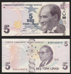 banknote of Turkey 5 Turk Lirasi in AU condition