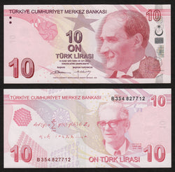 banknote of Turkey 10 Turk Lirasi in AU condition