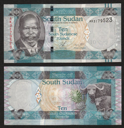 banknote of South Sudan 10 Pounds in UNC condition