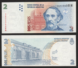 banknote of Argentina 2 Pesos in UNC condition