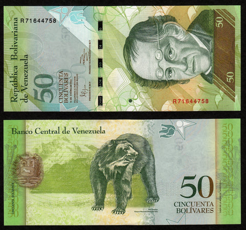 banknote of Venezuela 50 Bolivares in UNC condition