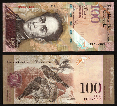 banknote of Venezuela 100 Bolivares in UNC condition