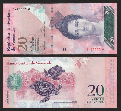 banknote of Venezuela 20 Bolivares in UNC condition